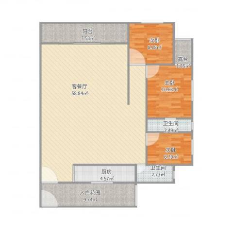 顺联新城花园3室1厅2卫1厨151.00㎡户型图