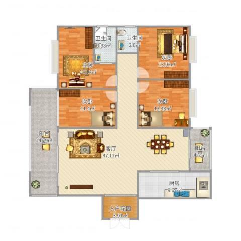 北大阳光4室1厅2卫1厨160.00㎡户型图