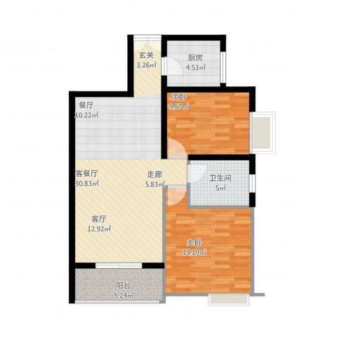 宏林名座(李海龙)2室1厅1卫1厨97.00㎡户型图