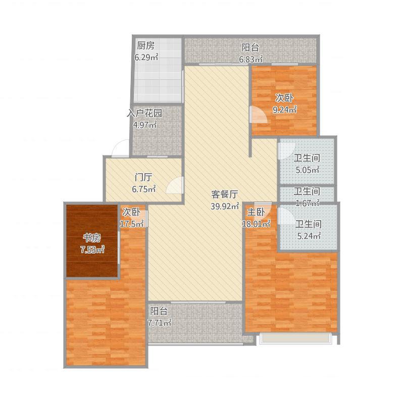 澜庭国际145方B4户型三室两厅