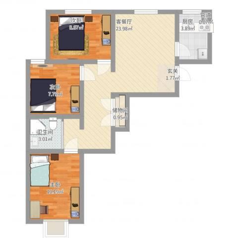 怡景茗苑3室1厅1卫1厨86.00㎡户型图