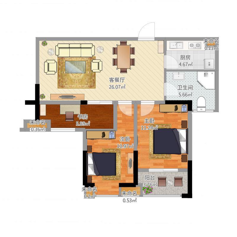 金东山幸福金装-宏峰A1户型91平方-现代简约时尚风
