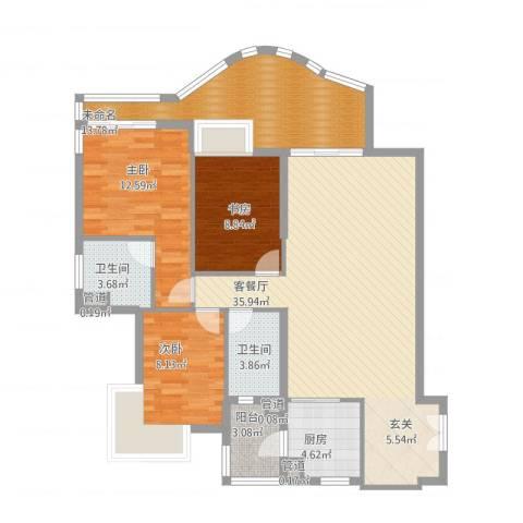 滨江明珠3室1厅5卫1厨135.00㎡户型图