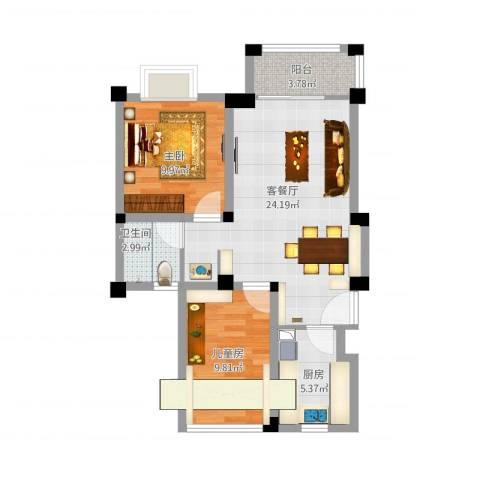东渡伊顿小镇2室1厅1卫1厨81.00㎡户型图