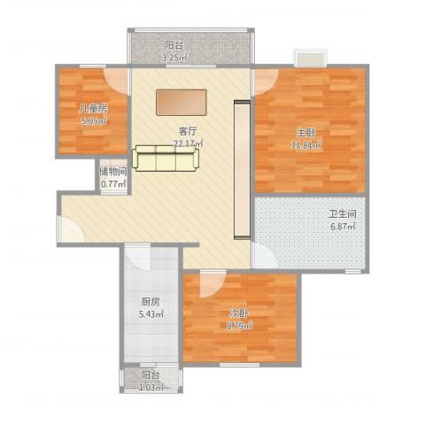 高行绿洲3室1厅1卫1厨89.00㎡户型图