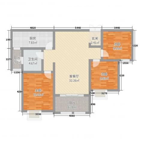 首钢首御3室1厅1卫1厨123.00㎡户型图