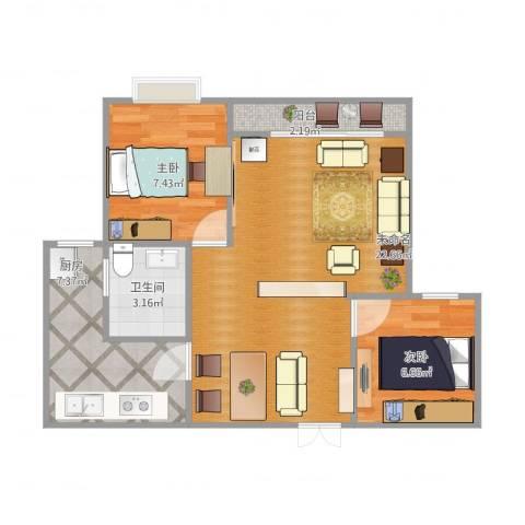 卓然翡翠城2室1厅1卫1厨67.00㎡户型图