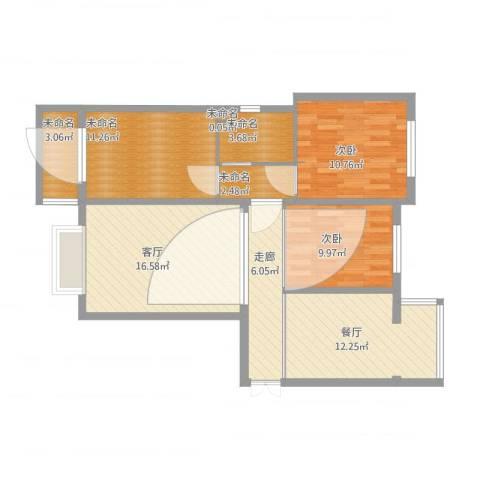 京润现代城39-3-6042室2厅2卫1厨107.00㎡户型图