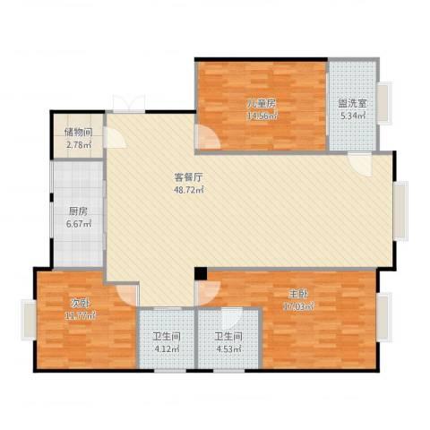 轩庭苑4幢11013室2厅2卫1厨154.00㎡户型图