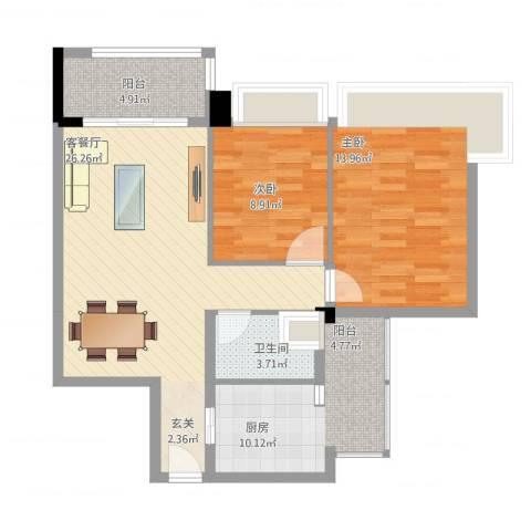 雅居乐岭会2室1厅1卫1厨96.00㎡户型图