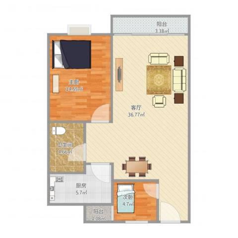 侨福城2室1厅1卫1厨95.00㎡户型图