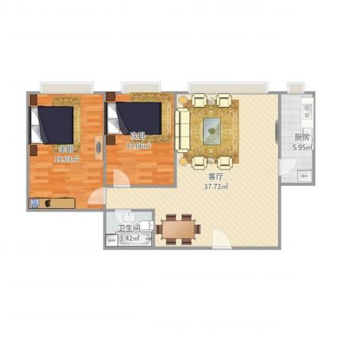 东方巴黎2室1厅1卫1厨104.00㎡户型图