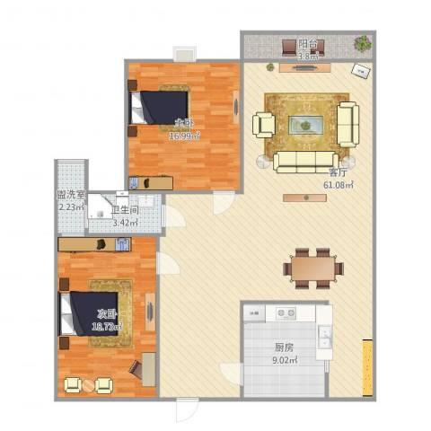 绿地望海新都(绿地领御)2室2厅1卫1厨122.31㎡户型图