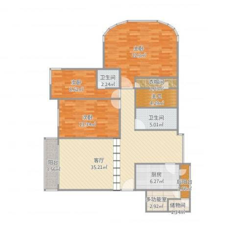 嘉信城市花园三期25座3室1厅2卫1厨148.00㎡户型图