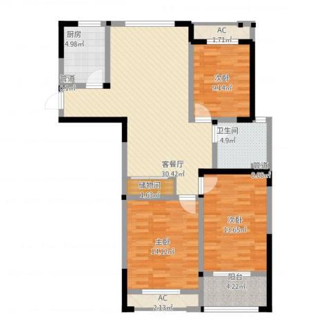 世纪华城二期铂晶湾3室1厅1卫1厨127.00㎡户型图