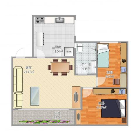 普晖村2室1厅1卫1厨92.00㎡户型图