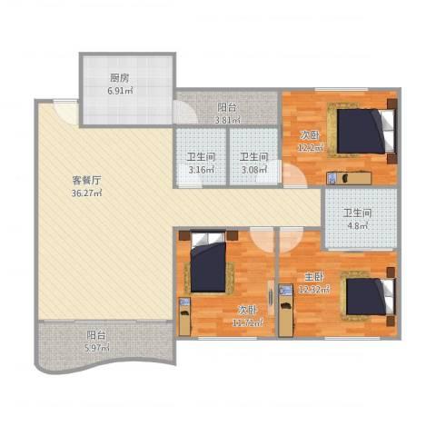 金域湾8033室1厅3卫1厨135.00㎡户型图