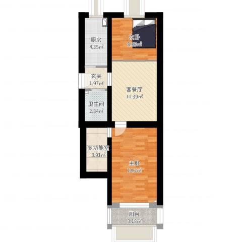 前泥洼2室1厅1卫1厨79.00㎡户型图