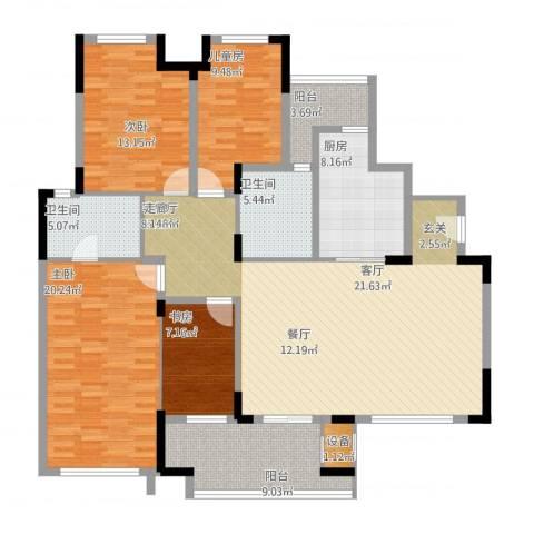 万科红郡4室1厅3卫1厨177.00㎡户型图