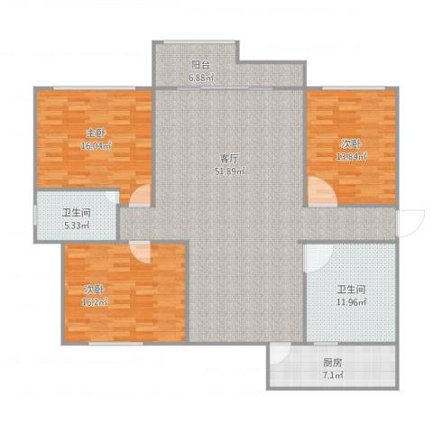 第六大道大洋嘉园3室1厅2卫1厨172.00㎡户型图