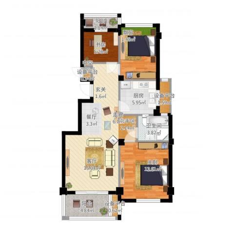 四季翠园3室1厅1卫1厨109.00㎡户型图