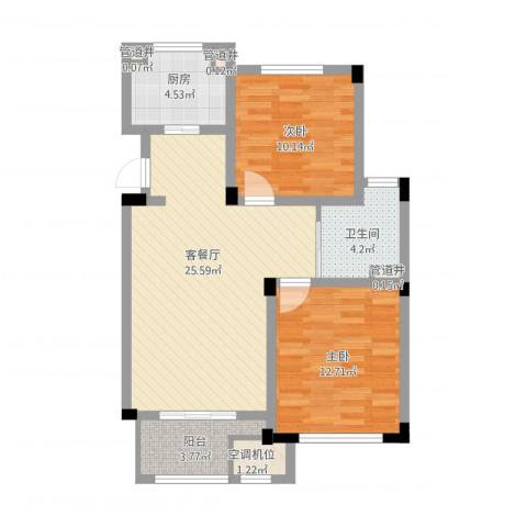 绿城乌镇雅园2室1厅1卫1厨91.00㎡户型图