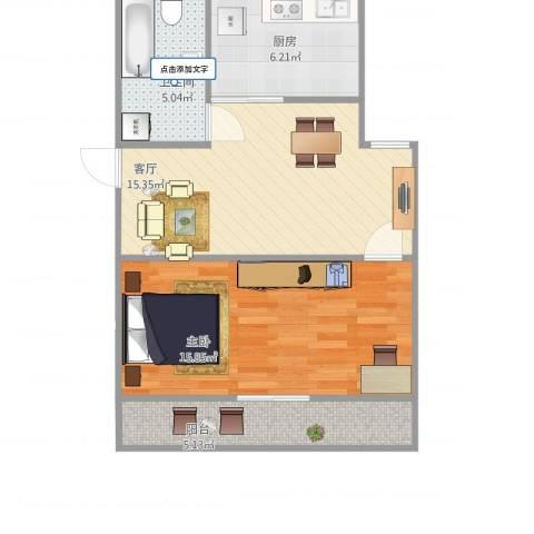 共康七村1室1厅1卫1厨65.00㎡户型图
