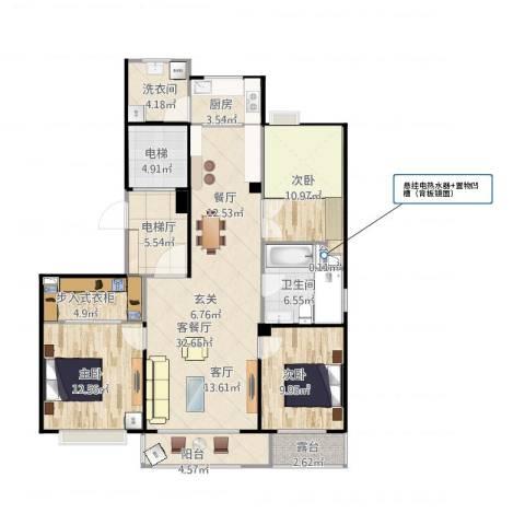 和顺中央花城3室1厅5卫1厨141.00㎡户型图