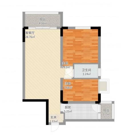 丹阳名居2室1厅1卫1厨91.00㎡户型图