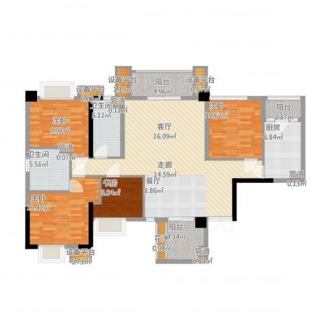泰然环球时代中心4室1厅2卫1厨161.00㎡户型图