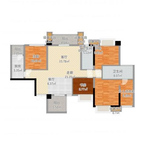 泰然环球时代中心4室1厅2卫1厨172.00㎡户型图