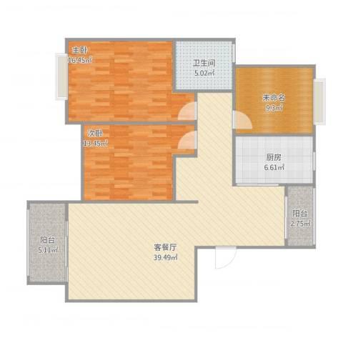 万祥馨苑2室1厅1卫1厨132.00㎡户型图
