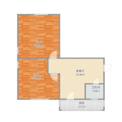 梁平楼2室1厅1卫1厨88.00㎡户型图