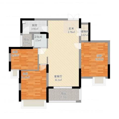 御天城跃龙苑3室1厅1卫1厨113.00㎡户型图