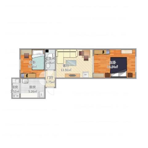 tql2室1厅1卫2厨60.00㎡户型图