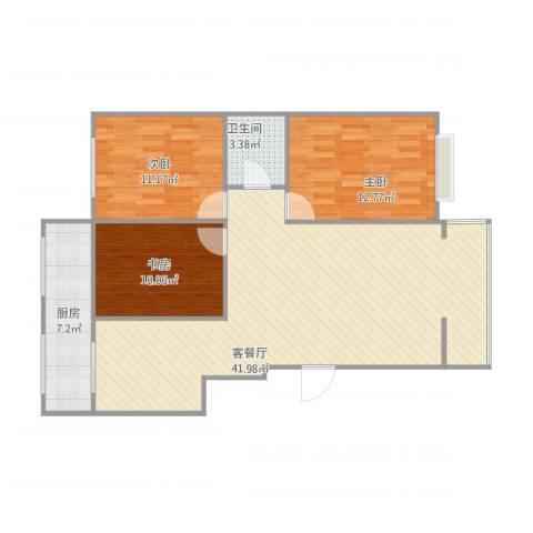锦华名苑3室1厅1卫1厨116.00㎡户型图