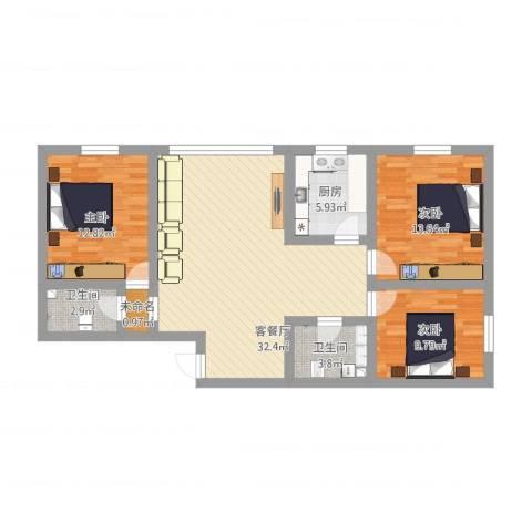 桃花源小区3室1厅2卫1厨122.00㎡户型图