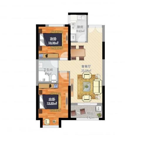 梅江南苑2室1厅1卫1厨90.00㎡户型图