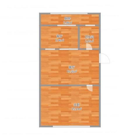 岭前街1室2厅1卫1厨55.00㎡户型图