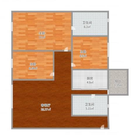 伟业楼3室1厅2卫1厨112.00㎡户型图