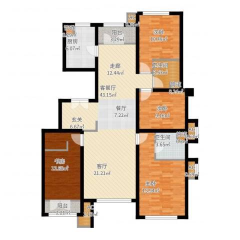 亿城堂庭4室1厅2卫1厨164.00㎡户型图