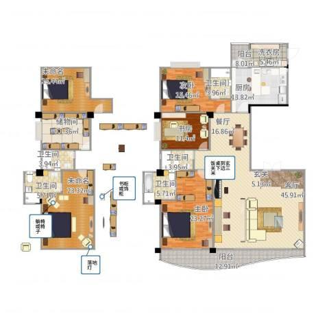 御峰臻品3室1厅5卫1厨296.00㎡户型图