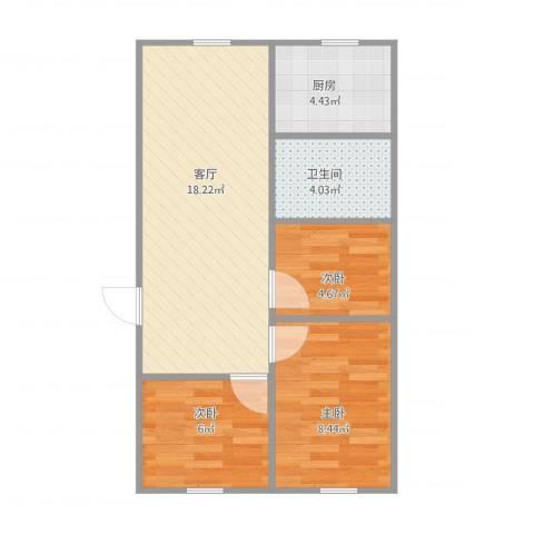 安居苑九街坊3室1厅1卫1厨62.00㎡户型图