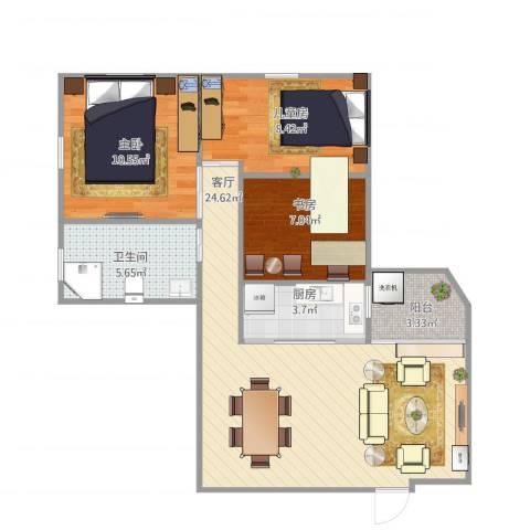 德荣小区3室1厅1卫1厨86.00㎡户型图