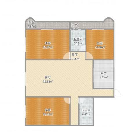 繁荣广场3室1厅2卫1厨175.00㎡户型图
