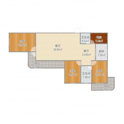 繁荣广场4室1厅2卫1厨212.00㎡户型图