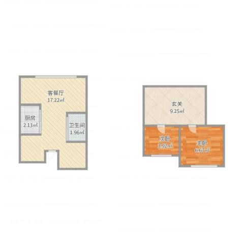 海富经典2室1厅1卫1厨57.00㎡户型图