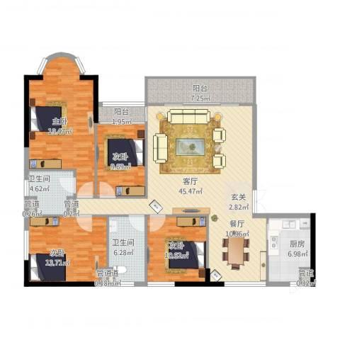 天翔花园4室1厅2卫1厨175.00㎡户型图
