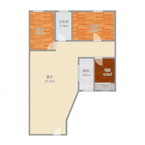 玫瑰名园3室1厅1卫1厨92.00㎡户型图