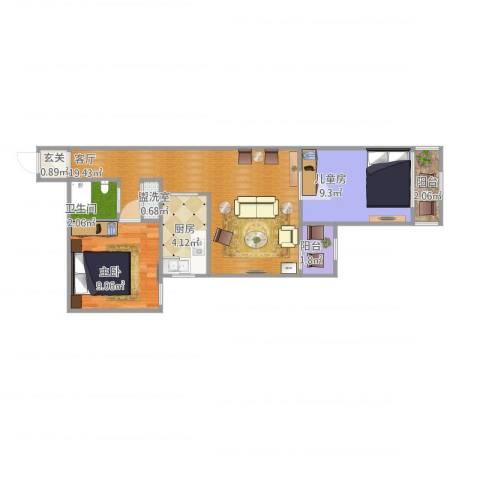 绿景苑2室2厅1卫1厨68.00㎡户型图